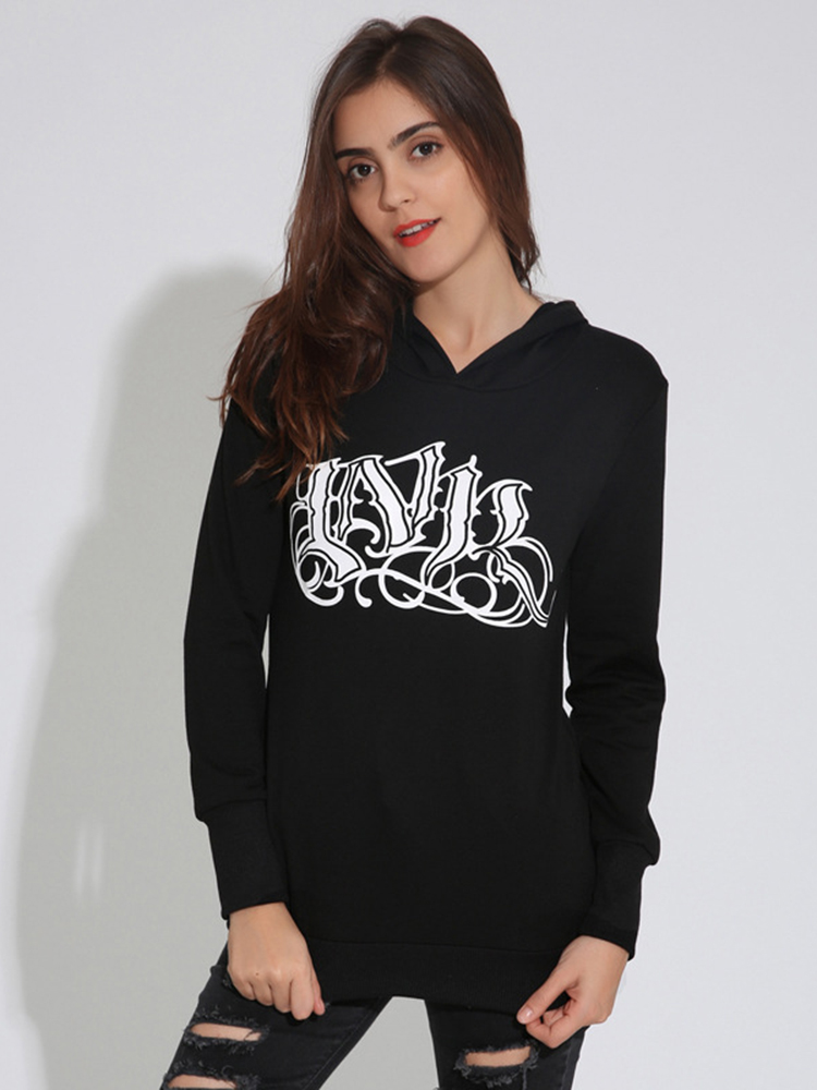 Black Casual Women Long Sleeve Letter Printing Hooded Hoodies