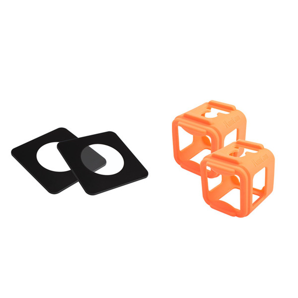 2 PCS Silicone Frame for RunCam 3 Gopro Session+2 PCS Tempered Glass Protector for RunCam 3
