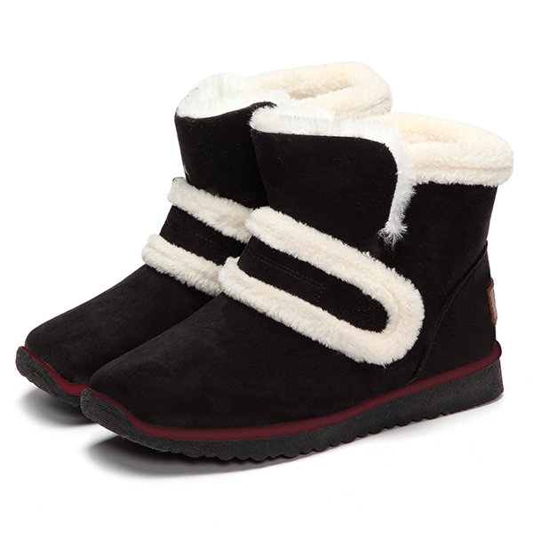 Warm Faux Fur Lining Hook & Loop Round Toe Ankle Snow Boots