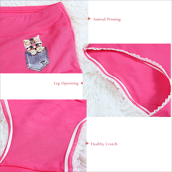 Woman Comfy Modal Seamless Breathable Panties Lovely Cartoon Elastic Underwear