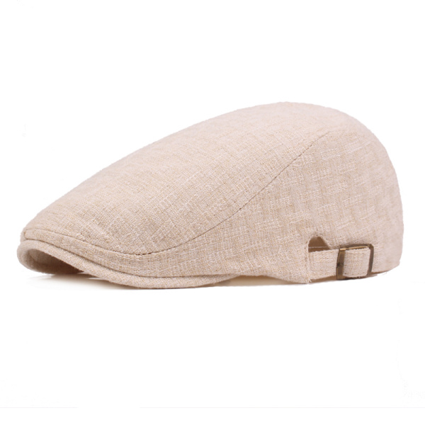 Mens Linen Solid Beret Caps Casual Newsboy Forward Hat Gorras