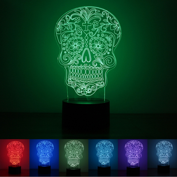 cb1c5ae0e 3D Illuminated Illusion Color Changing Skull LED Desk Night Light Lamp