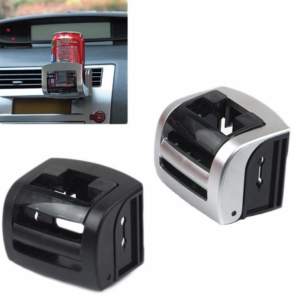 Multifunctional Car Outlet Drink Beverage Holder Cup Phone Stand Sliver Black for 57-72mm