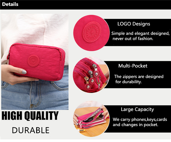 Women Nylon Multi-Pocket 6.0 Inch Phone Clutch Daily Capacity Wallet Coin Card Key Holder Purse