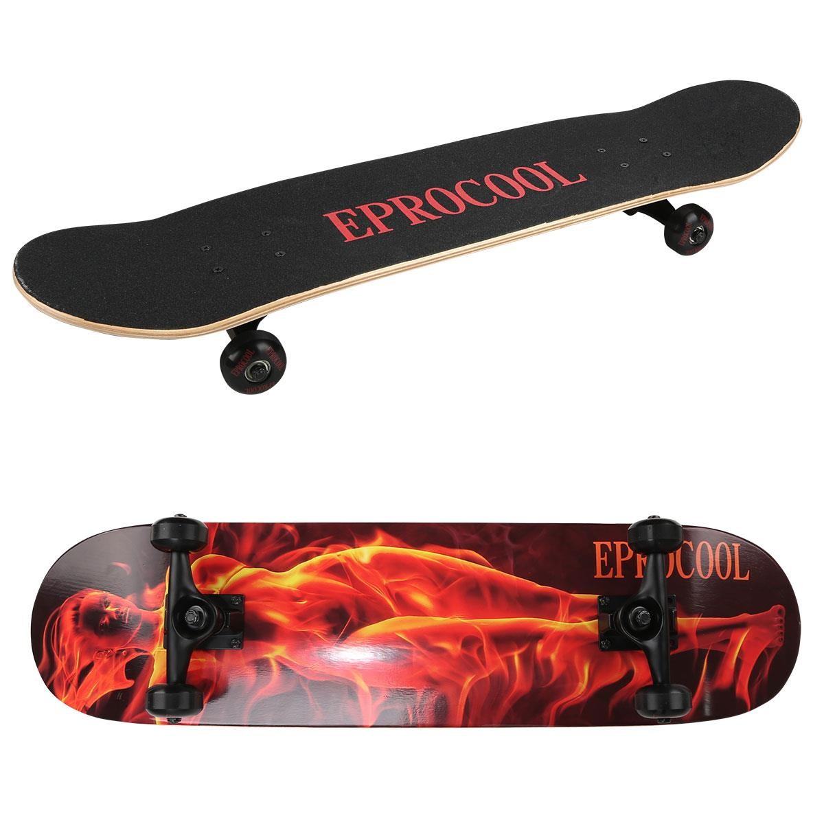 Buy Outdoor Four-Wheels Skateboard Skate Scooter Cool Street Long Board Mini Cruiser Maple Deck