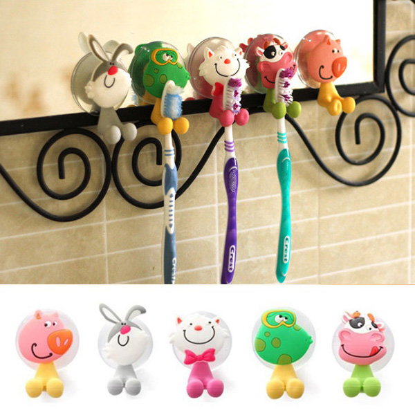 Honana BX-723 Creative Cute Cartoon Animal Powerful Sucker Toothbrush Holder