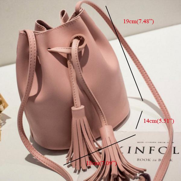 Women PU Leather Crossbody Bucket Bag Shoulder Bag