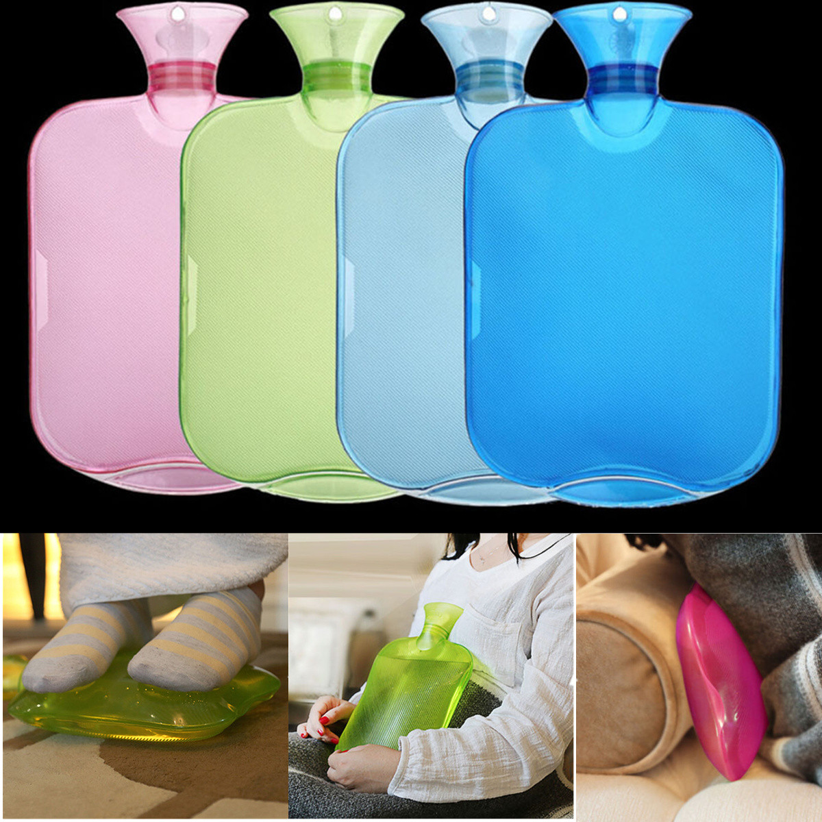 Buy 2000ml PVC Rubber Hot Water Bottle Warm Relax Pain Sports Injuries Relief Heat Cold Therapy Bag