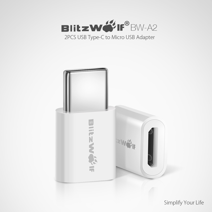 blitzwolf bw a2 usb type c to micro usb connector usb c. Black Bedroom Furniture Sets. Home Design Ideas