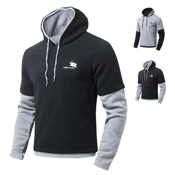 Mens Casual Stitching Sleeves Hoodies Sweatshirt Long Sleeve Pullover Sweatshirt