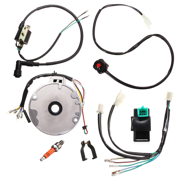 Buy Motorcycle Universal Dirt Pit Bike CDI Spark Plug Switch Magneto Wire Harness Kit 50-125cc