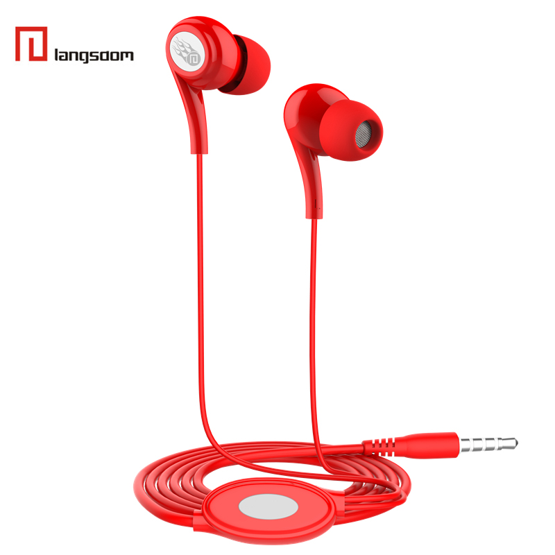 Langsdom JD91 Stereo Wired Control Headphones Earphone wth Mic for iPhone Xiaomi Redmi Smartphone