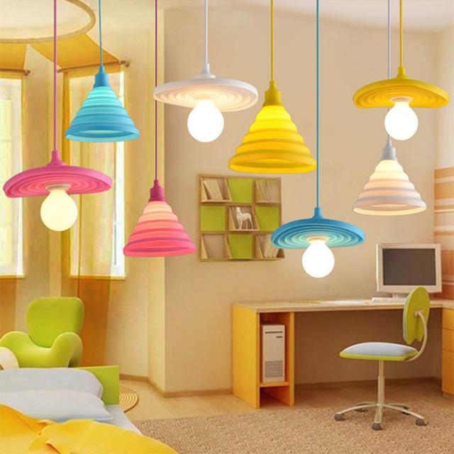 Imagen de Colorido plegable lámpara de techo de silicona titular de la lámpara colgante DIY diseño pantalla variable