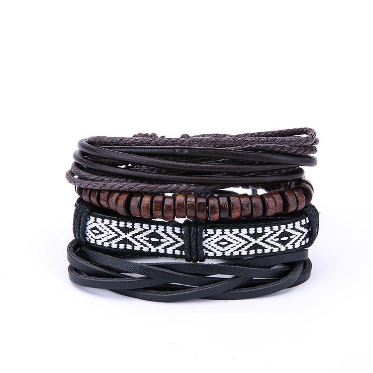 Vintage Mens Multilayer Leather Bracelets Boho Geometric Pattern Rock Wood Bead Bracelets for Men