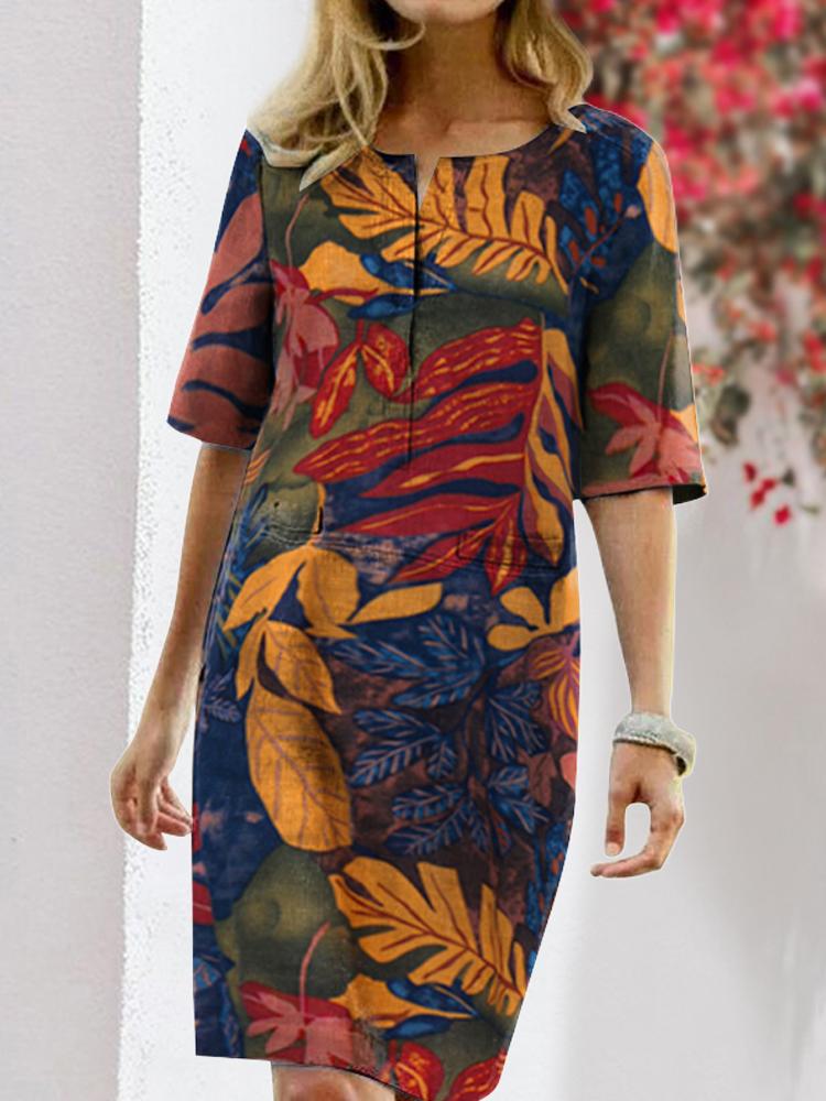 Robe vintage fleurie à col rond et à manches longues - Newchic - Modalova