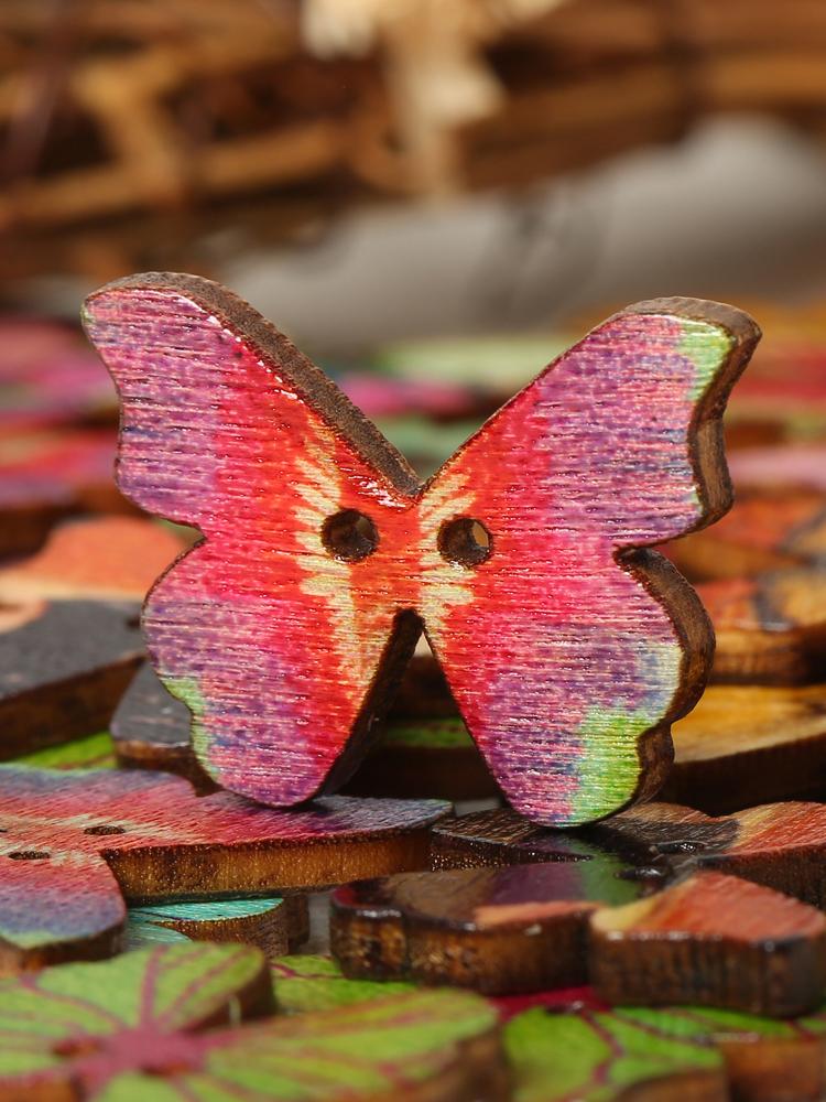 Lot de 50pcs boutons de couture créatifs en forme de papillon en bois DIY artisanat décoration pour sac chapeau vêtement