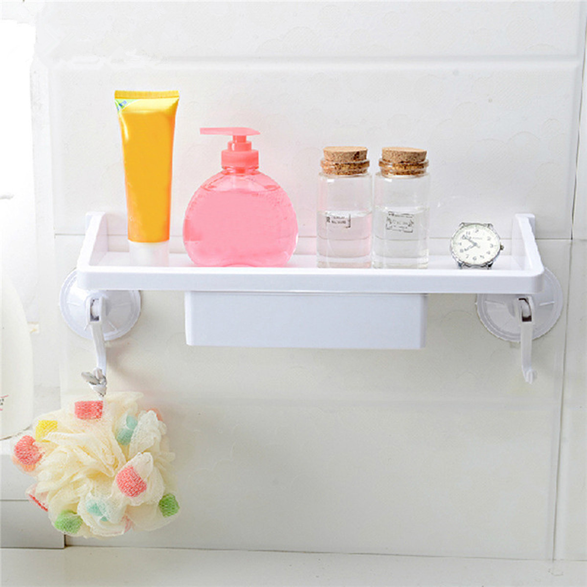 Suction Cup Shelf Caddy Rack Holder Storage with Drawer Kitchen Bathroom Corner