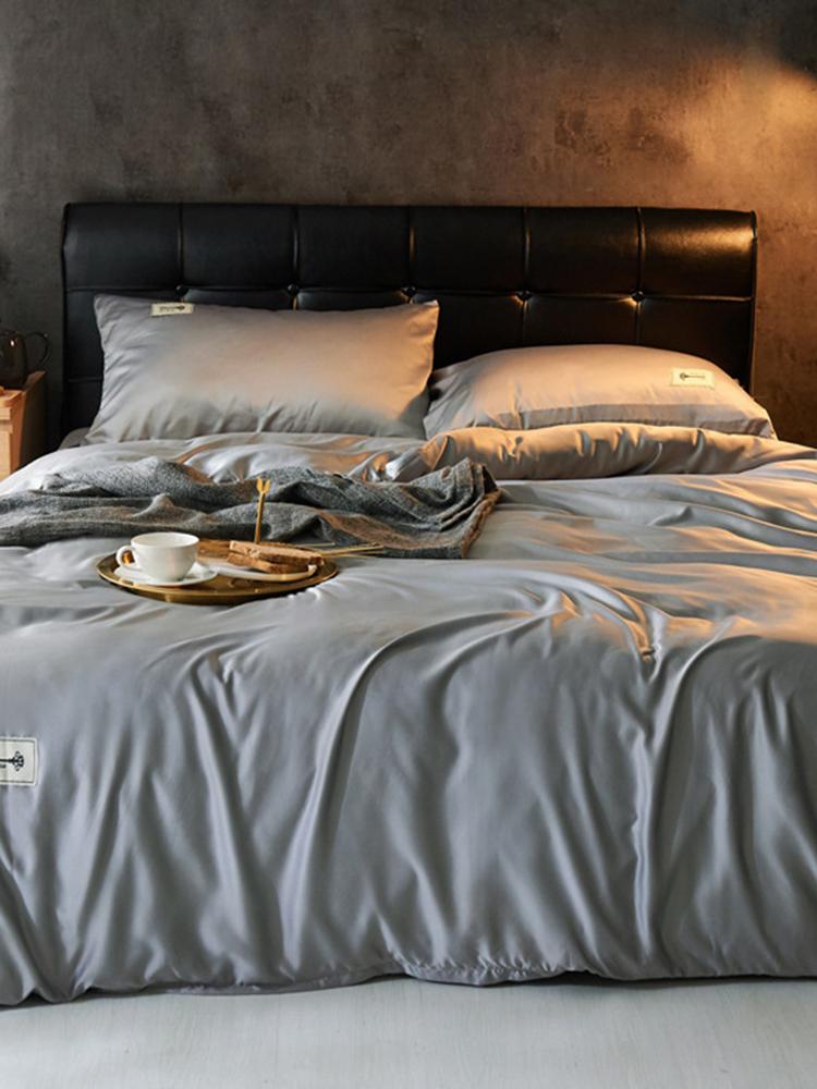 EU Größe 4St. Massiv gewaschene Seide Satin Bettwäsche Set Soft Atmungsaktive Bettbezug Kissenbezug
