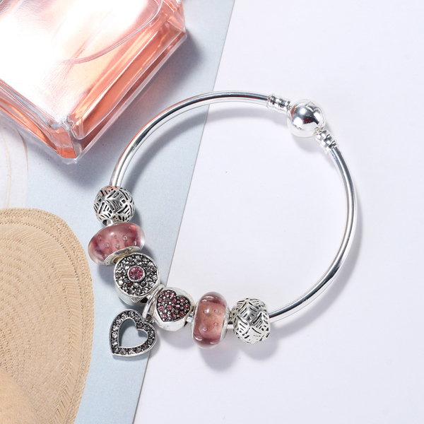 Fashion Pink Crystal Bead Bracelet with Heart Pendant Sterling Silver DIY Charm Bracelets for Women
