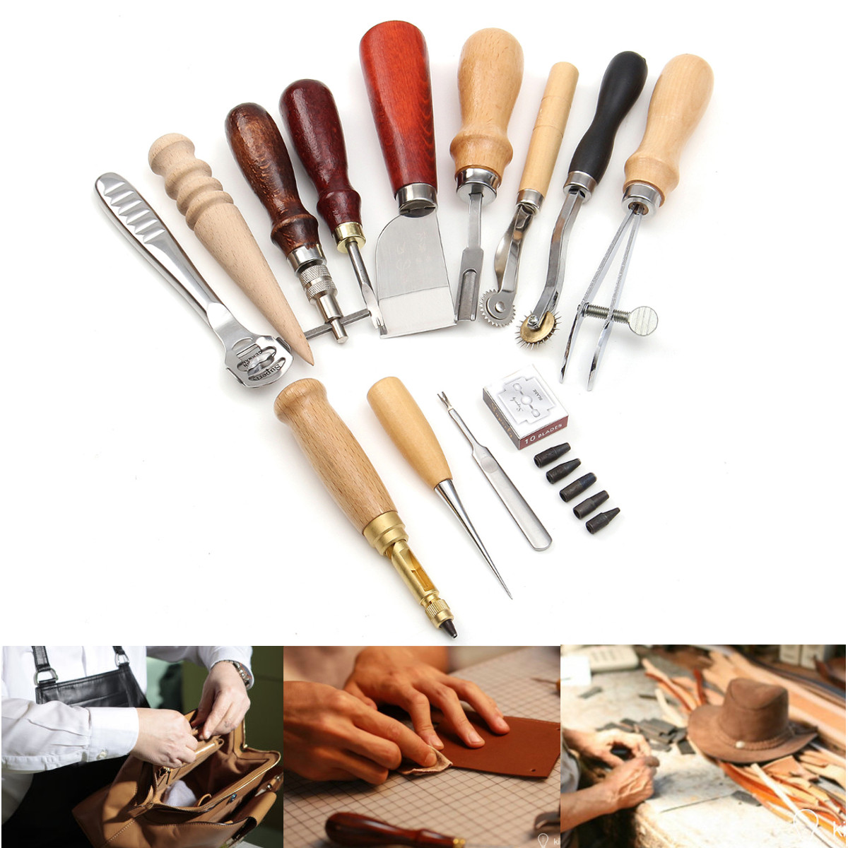 13Pcs/Set Leather Craft DIY Tools Set Leather Working Hand Tool Punch Cutter DIY Kit