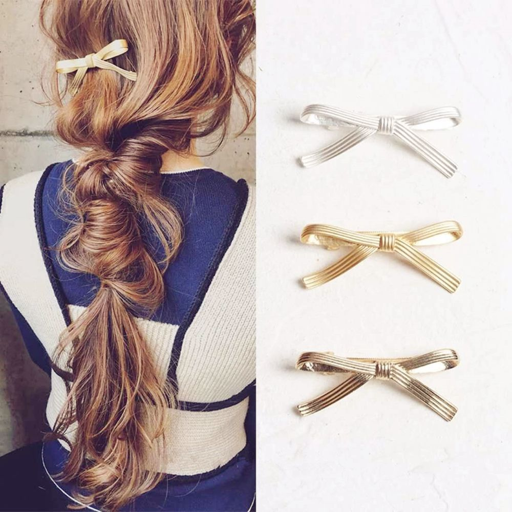 Sweet Hair Clip Silver Gold Bowknot Alloy Fashion Hair Accessories Jewelry for Women