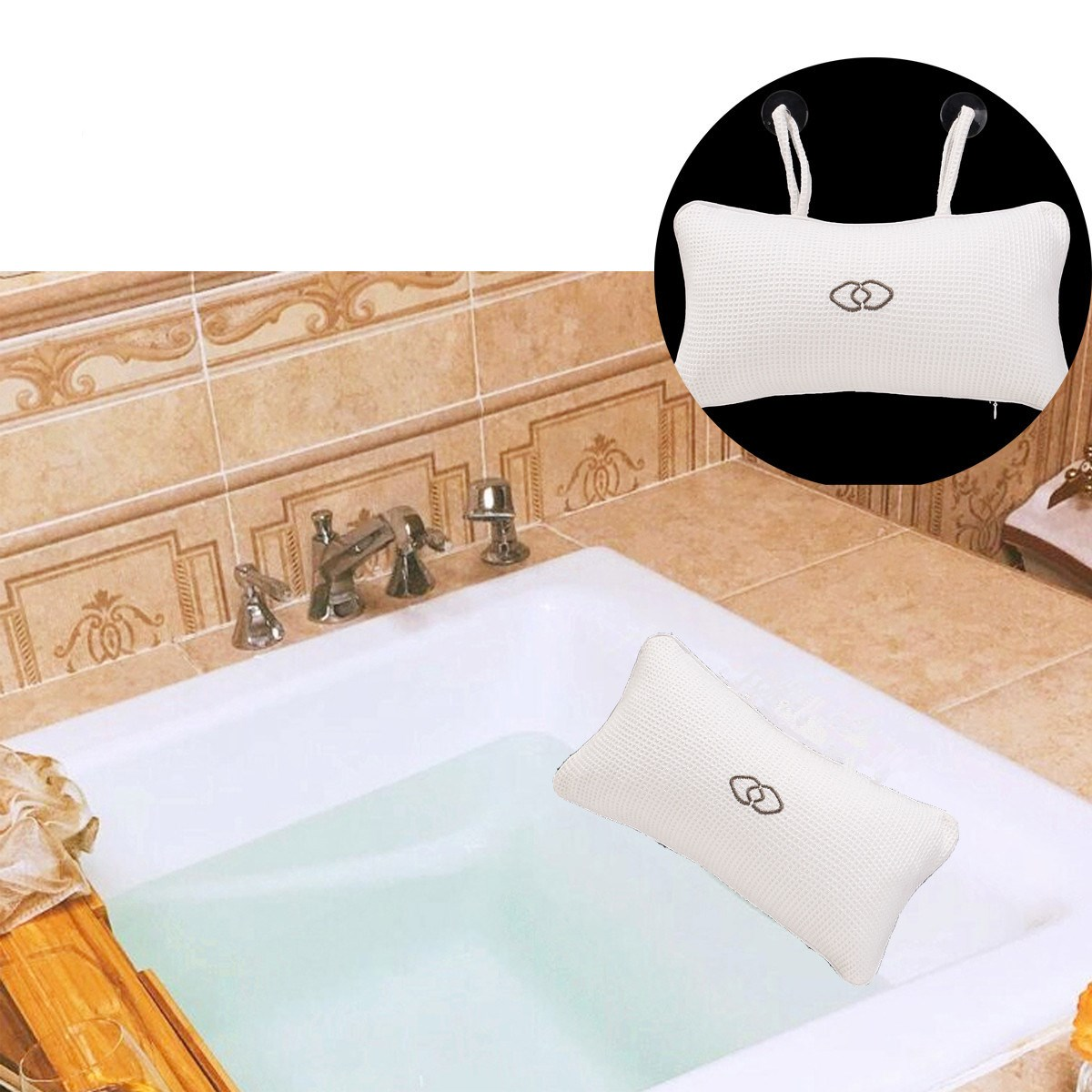 Eco-Friendly SPA Bath Pillow Neck Bathtub Cushion Soft Headrest Suction Cup Bathtub Pillow