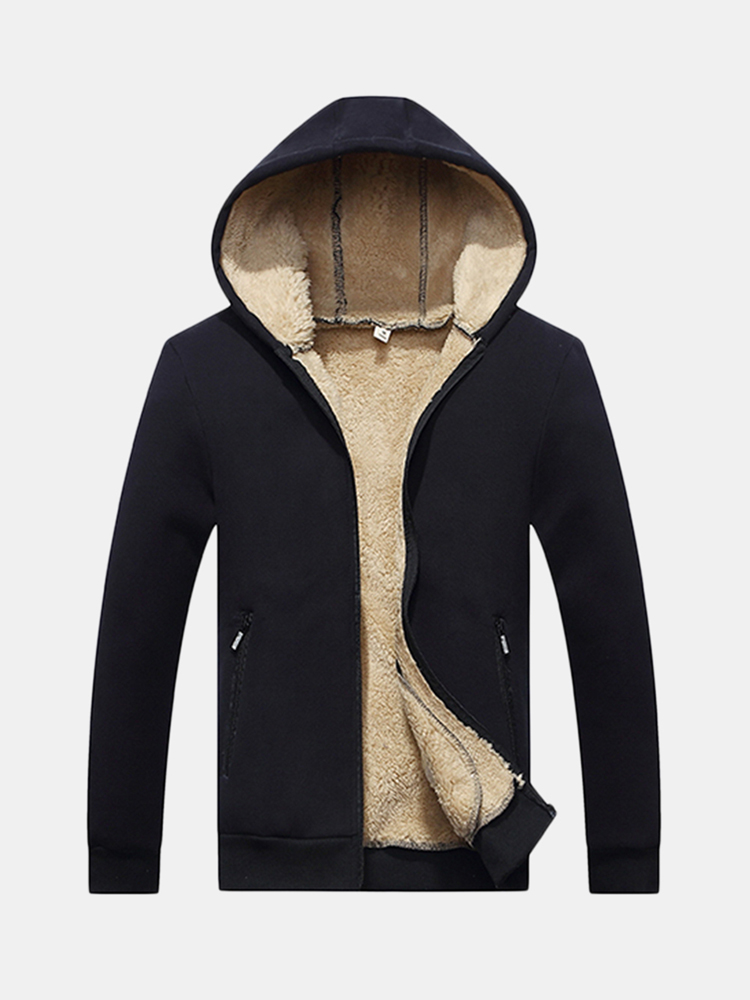 Mens Winter Warm Thick Fleece Lining Thermal Hoodies Solid Color Zip Up Casual Cardigans SKU805786