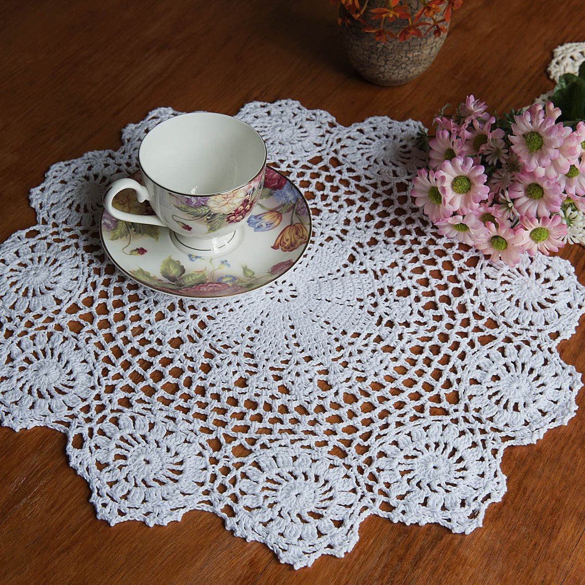 Round 37cm Cotton Yarn Hand Crocheted Lace Doily Table Mat Home Decor SKU460295