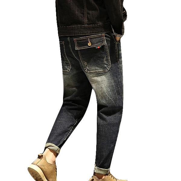 Casual Hip-hop Patchwork Washed Mid Waist Cotton Jean for Men SKU857039