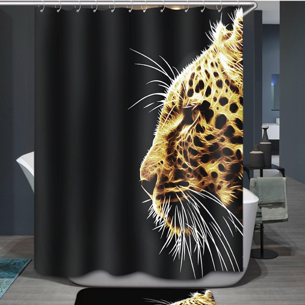 3D Water Cube Design Shower Curtain Bathroom Waterproof Fabric 72 Inch Set