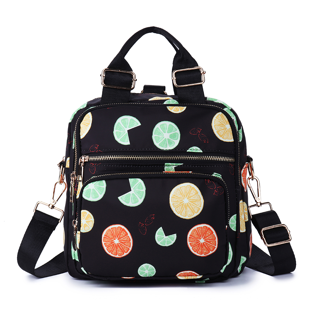 Women Nylon Floral Print Multi-function Crossbody Bag Travel Backpack Casual Shoulder Bag