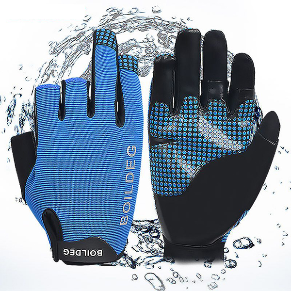 Men Reflective Stripe Motocycle Cycling Dew Three Finger Anti-slip Fishing Outdoor Row Gloves