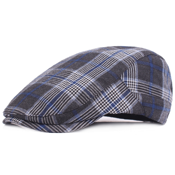 Men Unisex Plaid Cotton Breathable Beret Caps Casual Sunshade Forward Hats With Buttons Adjustable