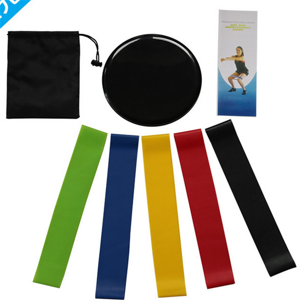 7 Pcs/ Set Fitness Equipment 2 Pcs Black Fitness Slide Plate 5 Pcs Different Strength Tension Ring