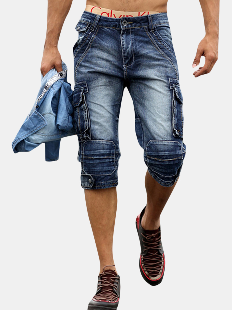 Retro Multi Pockets Over-Knee Casual Short Jeans For Men SKU984056