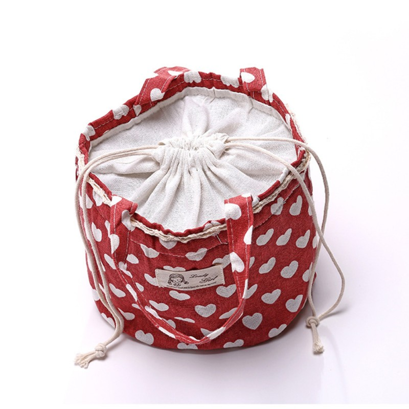 Cotton Linen Lunch Tote Bag Drawstring Portable Picnic Cooler Insulated Handbag Container