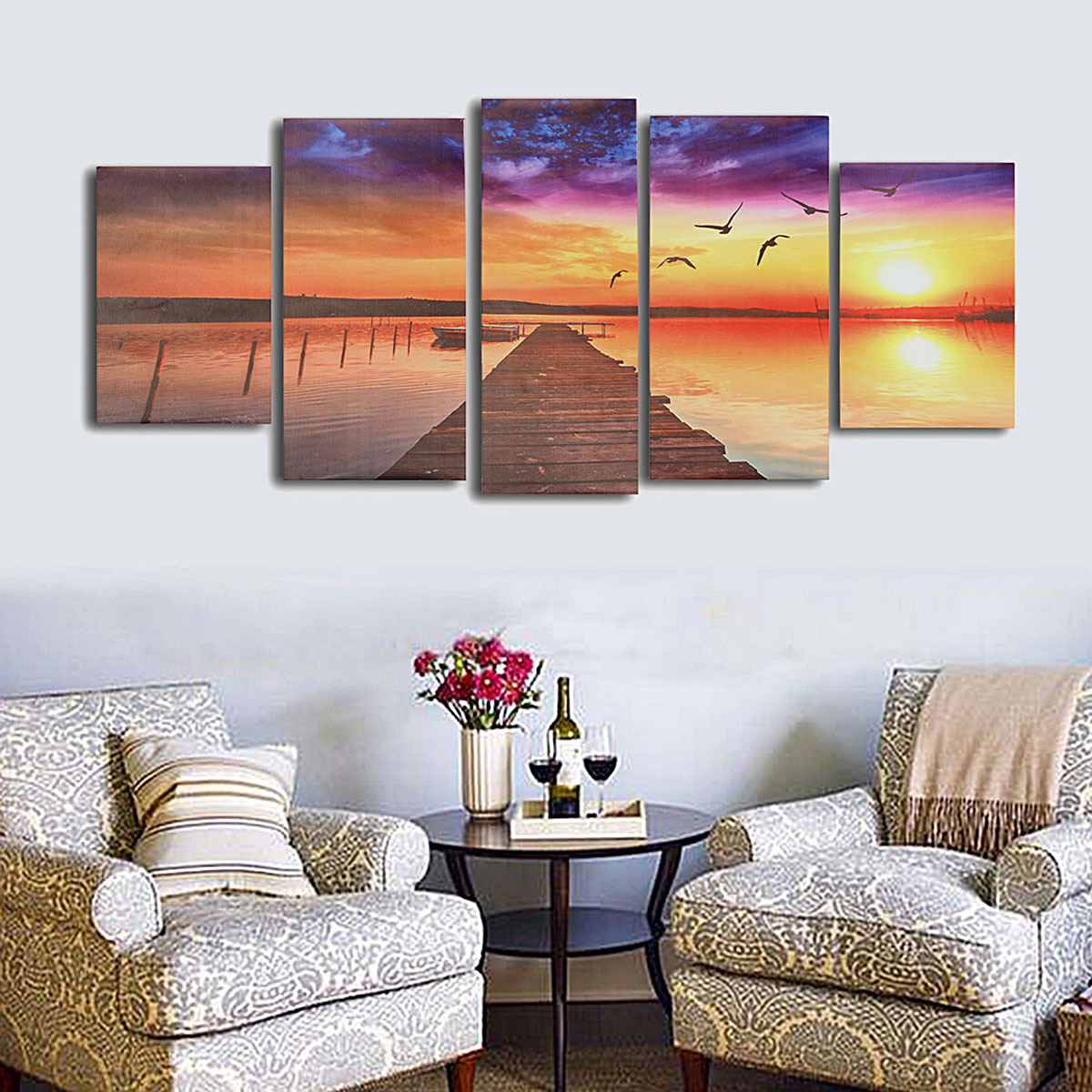 5Pcs Frameless Wood Path Modern Canvas Picture Oil Print Painting Home Wall Decor