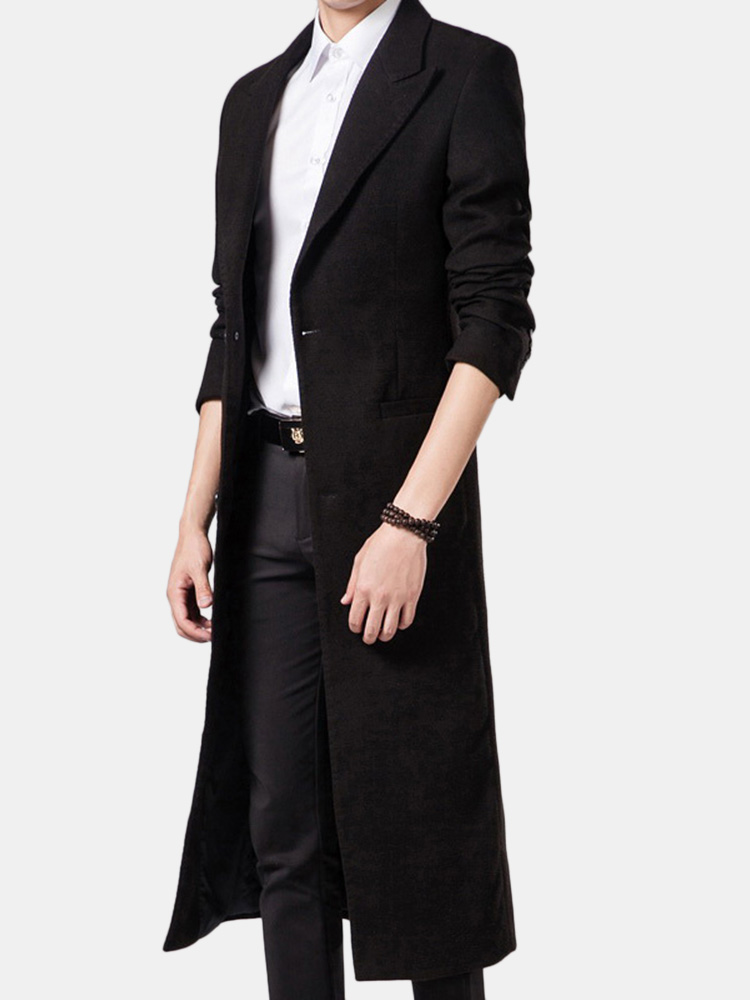 Image of Mens Long Style Woolen Solid Color Suit Collar Slim Fit Casual Trench Coat
