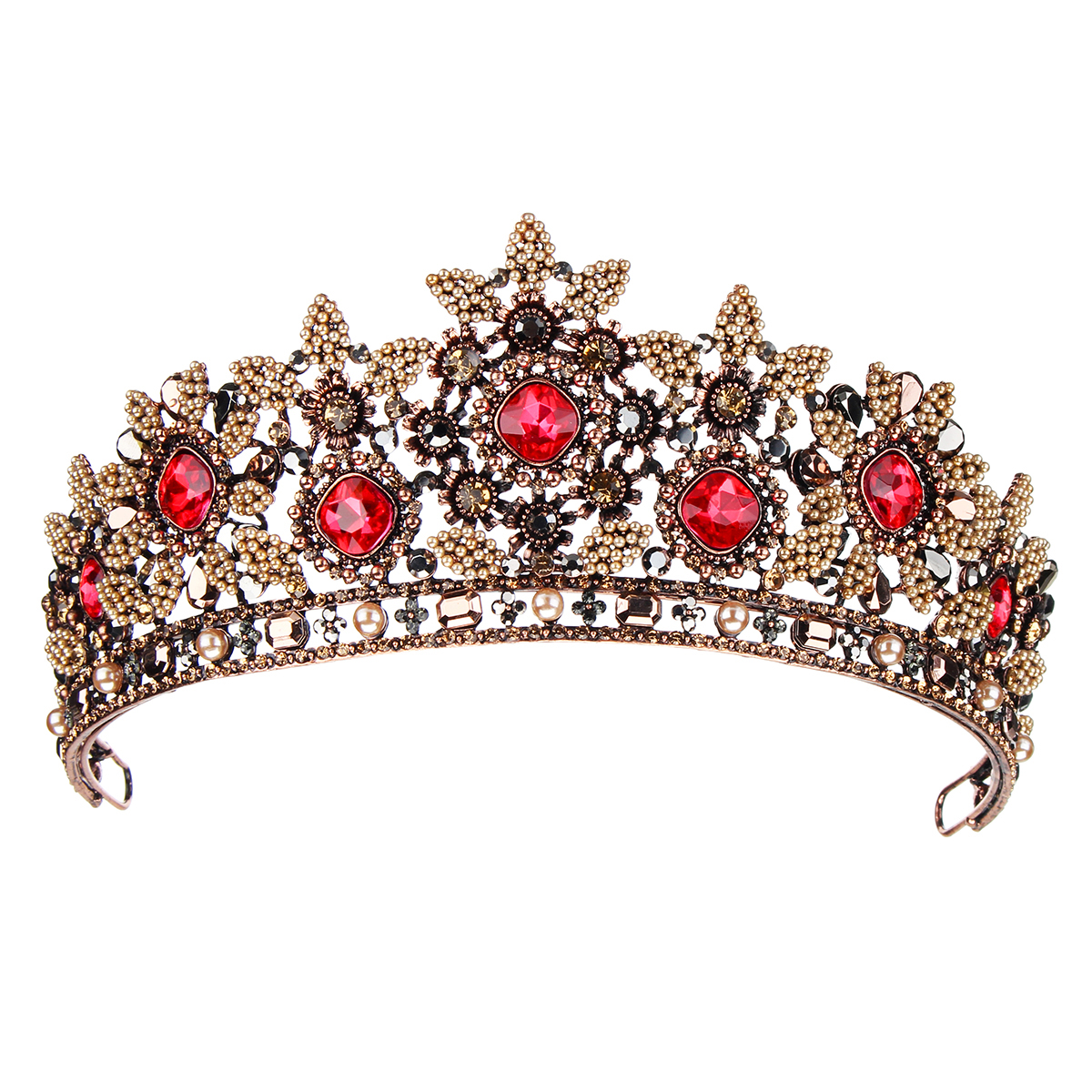 Retro Red Rhinestones Hairband Vintage Baroque Tiaras Wedding Hair Accessories Bridal Crown