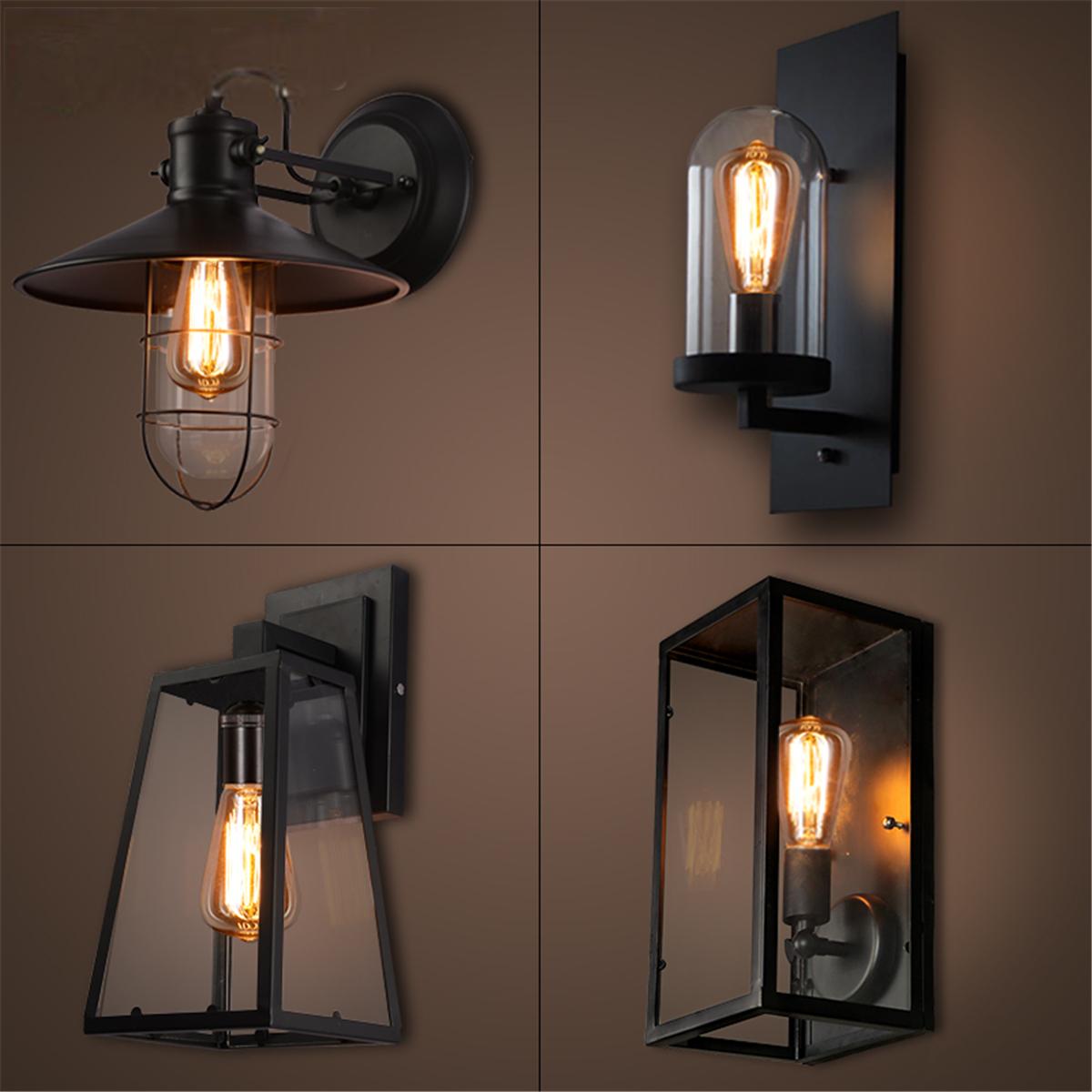 Imagen de Lámpara de pared Vintage al aire libre lámpara de la linterna Lámpara de pared de acero inoxidable patio negro