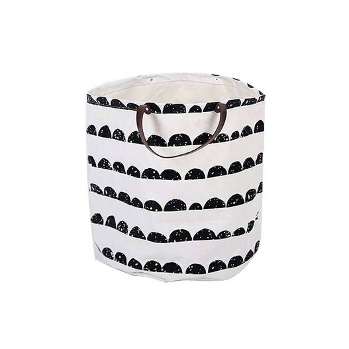 Canvas Laundry Storage Basket Baby Kids Toys Container Basket Leather Handle