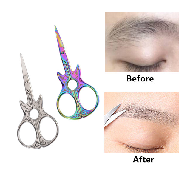 Guitar Eyebrow Scissors Chameleon Eyebrow Trimmer Facial Hair Remover Eyebrow Makeup Tool SKU992175