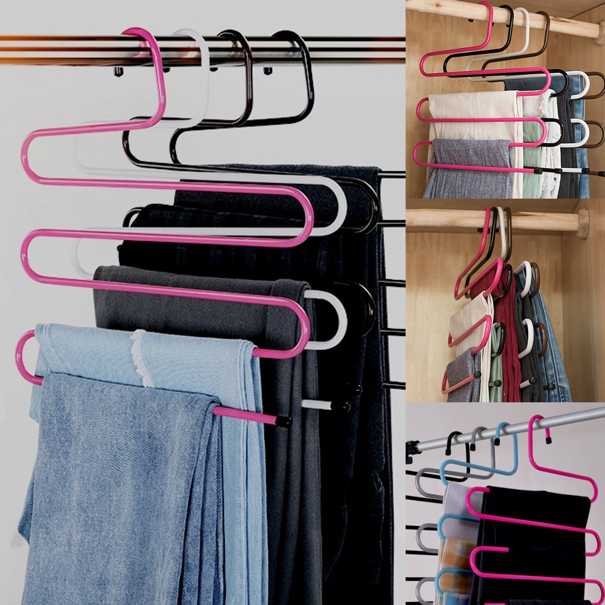 Image of Pink S Type Clothes Pants Scarf Hanger 5 Layers Storage Rack Closet Space Saver