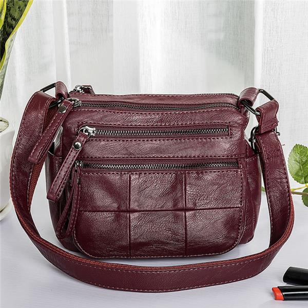 Women Multi-Pockets Concise Crossbody Bags Solid Large Capacity Shoulder Bags