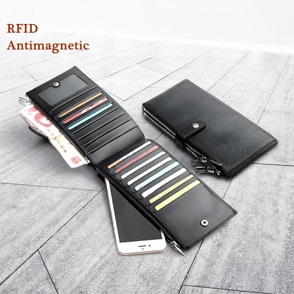 RFID Anti-Scanning Men Business Genuine Leather Long Black Multi Pocket Card Holders