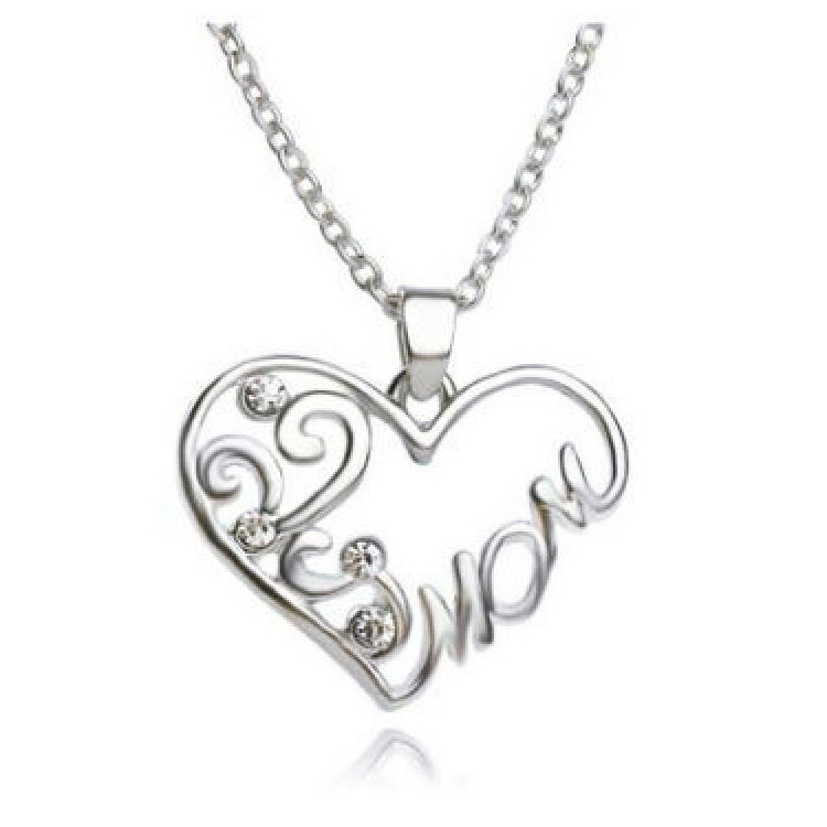 Sweet Pendant Necklace Silver Chain Hollow Mom Heart Charm Necklace Fashion Jewelry for Women