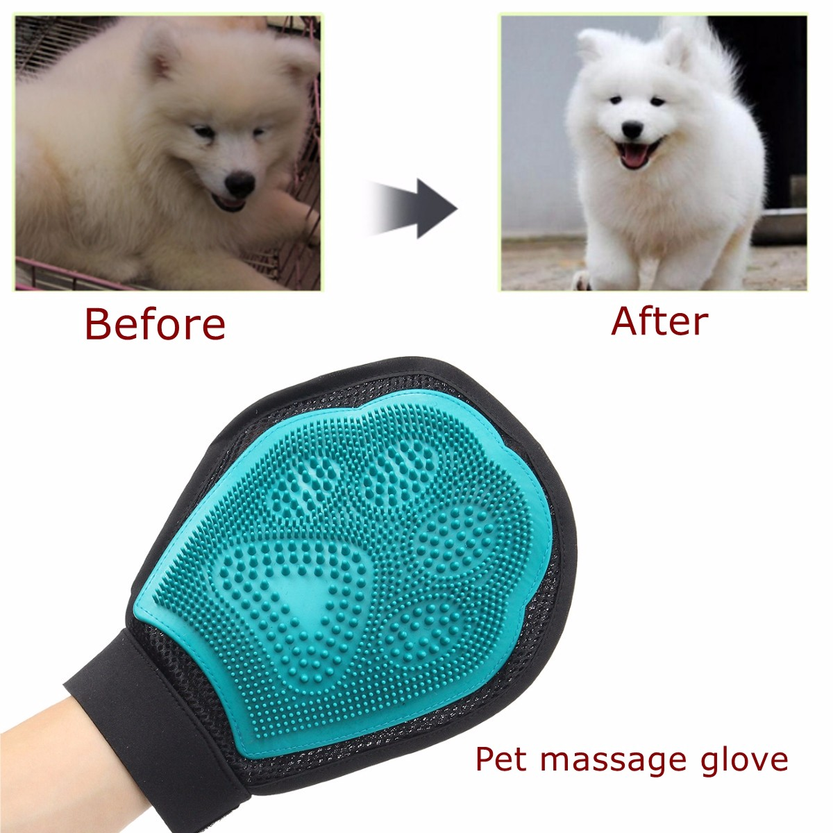 Pet Grooming Shower Bath Massage Brushes Combs Hand Shaped Glove Removal SKU449308