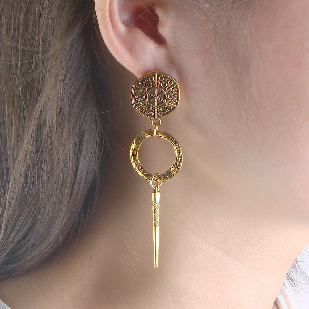 Vintage Shape Drop Earrings Long-style Gold Earrings Retro Alloy Earrings For Women Jewelry