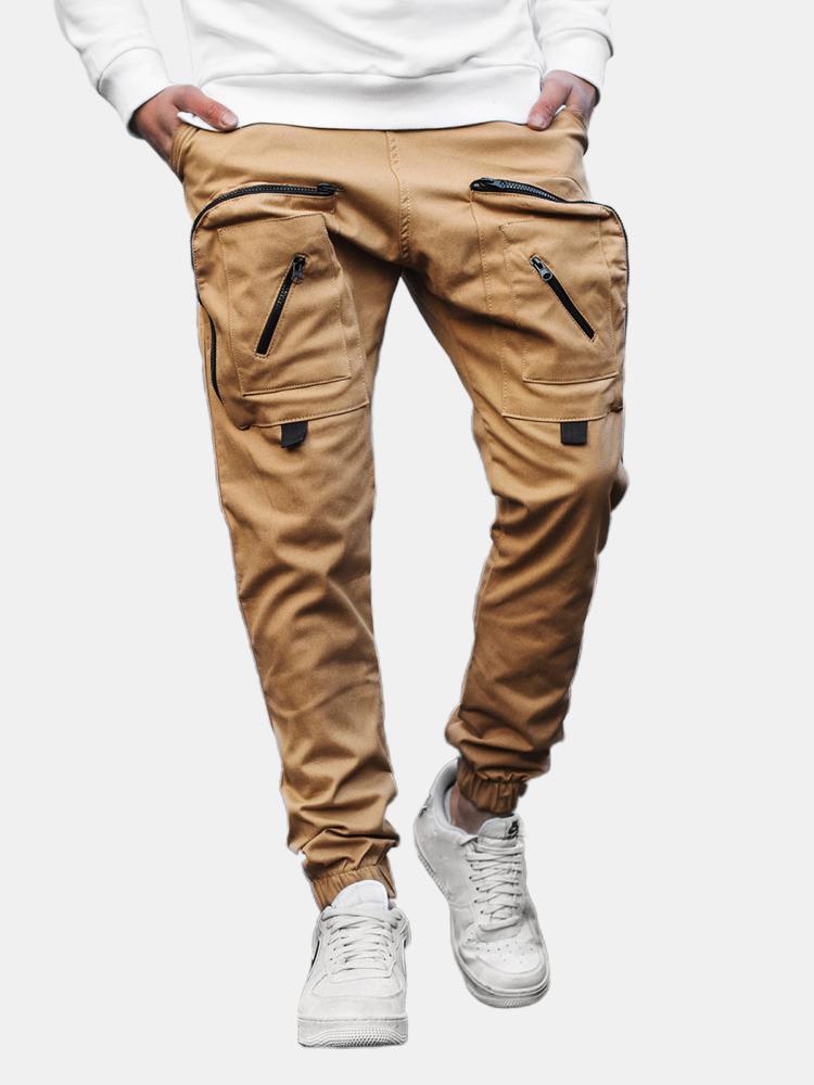Herren Design Overall Elastic Drawstring Taille Tooling Pocket Cargo Pants