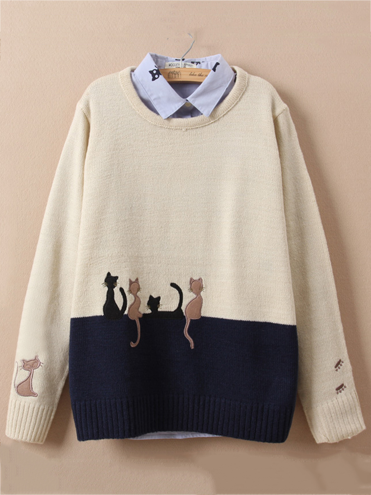 Cute Cat Embroidery O-neck Sweater for Women SKU843810